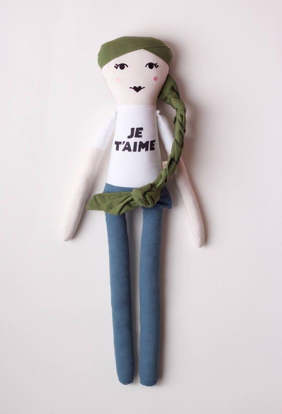 Fashion Icon Jane Birkin Cloth Doll: handmade with organic cotton