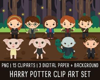 20% OFF Harry Potter Clipart Set 3, Wizzard clip art, magic clipart, harry potter birthday, harry potter party, Instant Download PNG 300 dpi