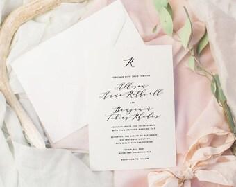The Allison Suite | Wedding Invitation Suite, Wedding Invitation, Romantic Wedding Invitation, Calligraphy Wedding Invitation