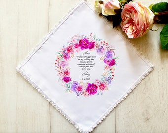 Wedding Handkerchief, Personalised Mother of the Groom Handkerchief, Wedding Hankerchief, Mother of the Groom Gift, Hankie for Mom #1