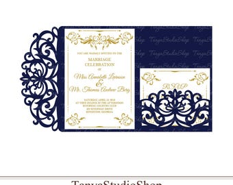 Wedding invitation template - SVG, DXF, ai, CRD, eps - Laser Paper Cut - Silhouette Cameo- Cricut - Instant Download 104