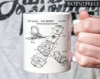 Snowboard Mug, Snowboarder Mug, Outdoor Mug Gift For Snowboarder, Skier Mug, Ski Lodge Decor, Winter Mug, Snow Ski Snowboard Patent P065