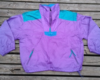 "Beautiful and bright Purple/Teal 90's vintage Columbia-like ""Extreme For All Conditions"" nylon pullover windbreaker jacket large"