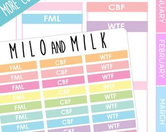 WTF, FML, CBF Header Stickers | Planner Stickers