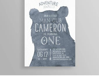 Boy Birthday Invitation, Woodland Rustic Bear, Adventure Awaits, 1st Birthday, Wild One, Printable Invite, Fully Editable, Templett  #059BBD