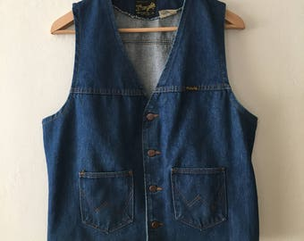 Vintage 1970s Wrangler Denim Vest with Pockets Size Large