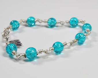 handmade gift for her, bespoke  blue crackle bead and tarnish resistant silver plate copper wire bracelet