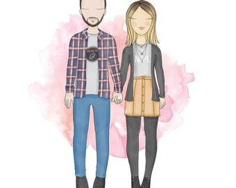 Custom Couple Portrait | Engagement Announcement | Gift | Anniversary | Personalised Digital Illustration
