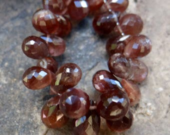 Plum Scapolite Cat's Eye   Faceted 3-D Pear Teardrop Briolettes   7x5mm-12x7mm   Sets of 5