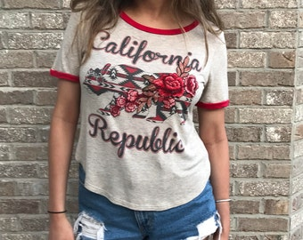 Vintage California Republic Tee with Rose Embroidered Trim