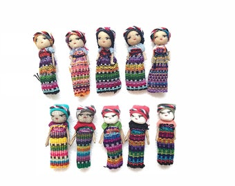 Worry dolls, Mexican dolls, Guatemalan doll, Trouble doll, Mexican worry dolls, SET of 10