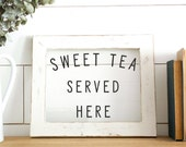 Glass Farmhouse Signs - Fixer Upper Style Gift - Modern Farmhouse Style Decor - Window Pane Sign - Fixer Upper Kitchen Decor - SWEET TEA