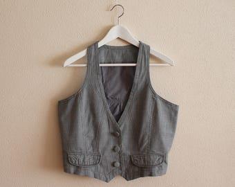 Grey Vest Gray Women's Vest Women Steampunk Vest Fitted Cotton Waistcoat Large Size