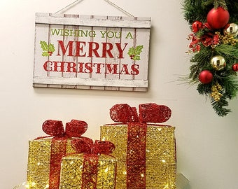 ESE LED Lighted pre-lit Christmas Presents Gift Boxes indoor Outdoor Yard Decor, sparkling, Gold, Set of 3pcs