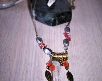 "Rock crystal and carnelian ""Falla"" necklace"