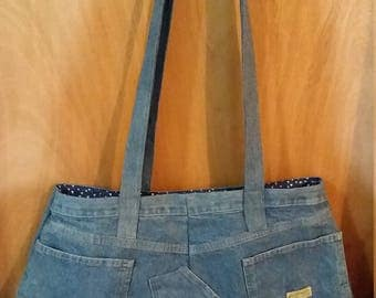 Large, Sturdy Upcycled Denim Messenger Bag, Shoulder Bag, Crossbody Bag w/2 Accessories, Fully Lined, 5 Assorted Pockets, Ready To Ship