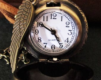 Golden snitch, Harry Potter, watch necklace, Golden Snitch necklace, clock