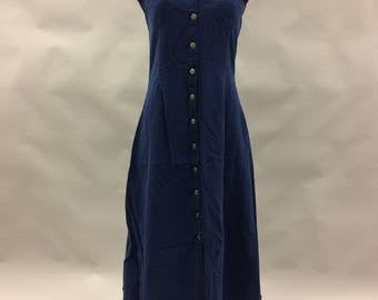 Vintage Sleeves Dark Denim Dress with Button Front | Size Small 6 | Cinched Back | Midi Length | Below the Knee | Shirt Dress