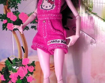 Monster High clothes-Hello Kitty overalls shorts
