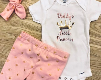 Baby Girl Little Princess Outfit- daddys little princess, mommys little princess, crowns, pink, baby leggings, knot headband, custom onesie