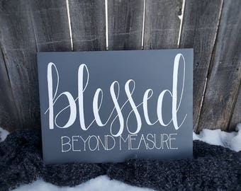 Blessed Beyond Measure Gray Gesso Board 12X16 Wood Sign