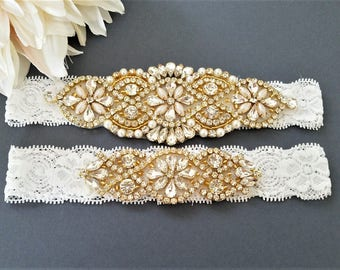 Wedding garter, Bridal Garter Set - GOLD Crystal Pearl Wedding Garter Set
