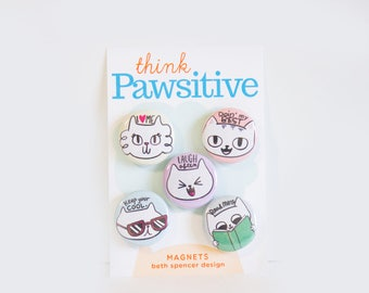 Cute Cat Magnets / Refrigerator Magnets / Kitty Magnets / Cat Magnet Set / Cats / Motivational Magnets / Cute Cat Gifts / Gifts for Cat Lady