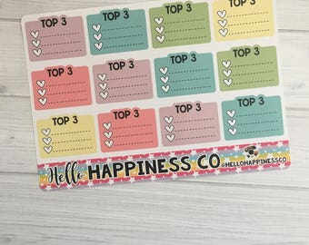 Top 3 Stickers - Checklist Stickers - Planner Stickers - Functional Stickers