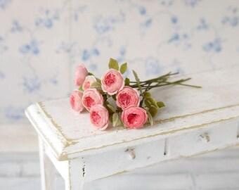 TO ORDER - Peony roses  1/12 scale, dollhouse decor, dollhouse flowers, dollhouse miniatures