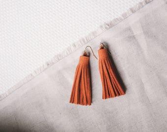 Orange Suede Leather Tassel Earrings