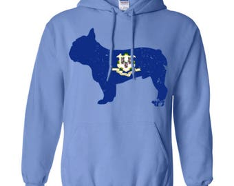 French Bulldog Hoodie, Connecticut State Flag Hoodie, French Bulldog Shirt, French Bulldog Sweatshirt, French Bulldog Hooded Shirt