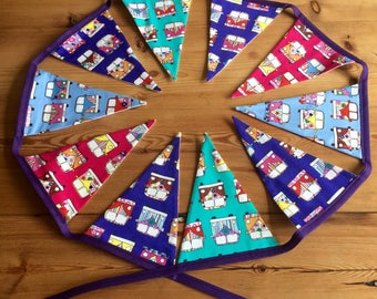 VW Campervan Style Bunting/Garland/Banner in Purple, Blue, Pink and Turquoise. 10 Flags, Approx 7ft in Length.