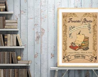Vintage Flourish and Blotts Print