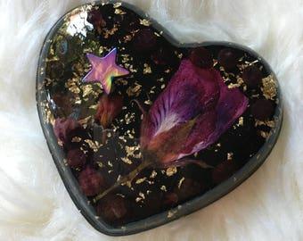 Resin Heart Trinket, Shungite Infused Resin Heart with Garnet & Flowers, Heart Trinket, Garnet and Flower in Resin Heart