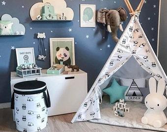 Kids Black and White Teepee with Pandas, Tipi with poles, Scandinavian teepee, gift for kids, childrens wigwam, boys teepee, monochrome room