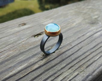 Chalcedony Ring * Mized Metal Jewelry* Artisan Jewelry * 18k gold * Statement Ring * Metalsmith Jewelry