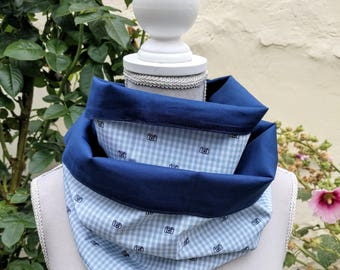 Navy Blue gingham double snood