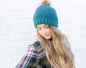 Crochet Beanie, Faux Fur Pom Beanie, Pom Pom Beanie, Teal Beanie, Green Beanie, Fall Beanie, Crochet Pom Beanie,  Winter Beanie, Fall