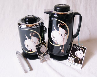 1970s Vintage Vogue and Moon / Glass thermos & Ice Bucket Set