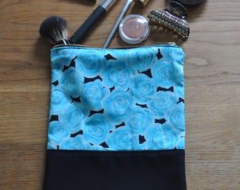 Handmade Blue Rose Make Up Bag