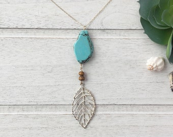 Turquoise Necklace, Long Turquoise Necklace, Turquoise Necklace, Turquoise and Leaf Necklace, Boho Necklace, Layering Necklace, Rustic