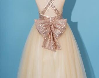 Rose gold sequins dress/pageant dress/ rose gold flower girl dress/Criss-cross girl dress/champagne tulle dress/dress with sequins bow