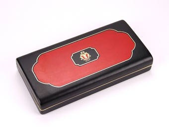 Dante Black & Red Men's Jewelry Box - 1960s Vintage - Small Mid Century Tie Bar Cufflink Case - Clean and Sharp Rare Box - in EX cond