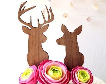 Buck and doe cake topper, wedding cake topper, deer cake topper, buck and doe silhouette topper, rustic wooden cake topper, antlers topper