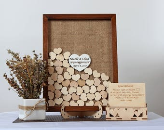 Wedding guest book frame with hearts/ Rustic guest book /Wedding guestbook /Wedding frame / Personalized guest book wedding