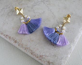 Beaded tassel earrings, Purple tassel earrings, Hippie earrings, Bohemian earrings, Gift for her, Fringe tassel earrings, Bridesmaid gift