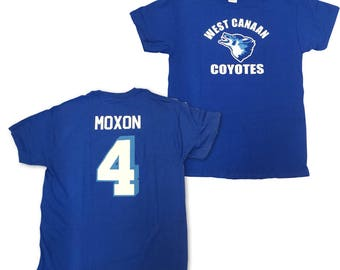 Jonathan Moxon T-shirt # 4 West Canaan Coyotes Jersey Shirt As Worn In Varsity Blues Movie Football QB Team Player Costume Adult Blue
