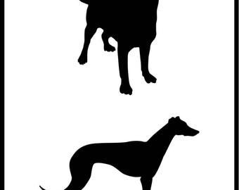 Dogs Stencil No.1, Various Sizes, Reusable, Arts Crafts Pets Animals Templates Labrador Retriever Whippet Greyhound  190 Micron Mylar