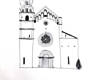 Drawing on paper to pen Trento Cathedral
