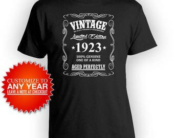 Personalized Birthday Gift Ideas For Men 95th Birthday Shirt Custom Gifts For Him Bday T Shirt Vintage 1923 Aged Perfectly Mens Tee - BG365